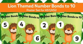 Number Bonds To 10 Lion Posters For KS1
