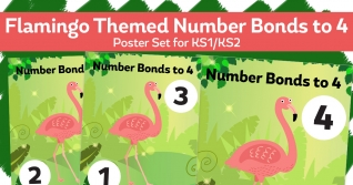 Number Bonds To 4 Flamingo Posters For KS1