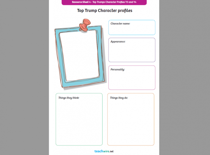 Top Trumps Character Profile Creation Worksheets for KS1/2 English ...