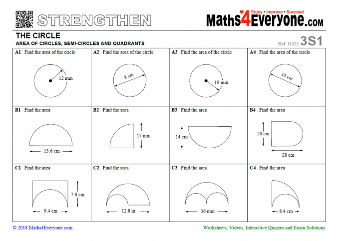 Area Of A Circle Worksheets And Powerpoint With Detailed Solutions