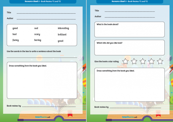 Book Review Template And Guide For Ks1 Englishcreative Writing