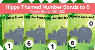 Number Bonds To 6 Hippopotamus Posters For KS1