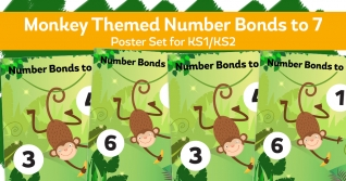 Number Bonds To 7 Monkey Posters For KS1