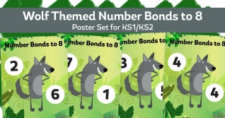Number Bonds To 8 Wolf Posters For KS1