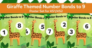 Number Bonds To 9 Giraffe Posters For KS1