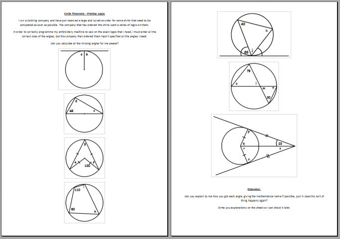 circle theorems and logos worksheets for ks4 maths teachwire teaching resource. Black Bedroom Furniture Sets. Home Design Ideas