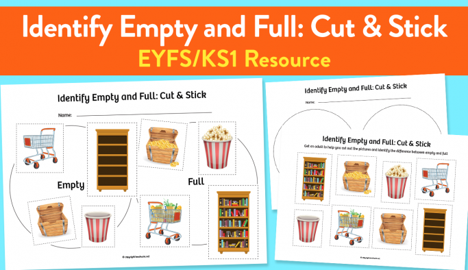 'Empty and Full' Cut & Stick Worksheet