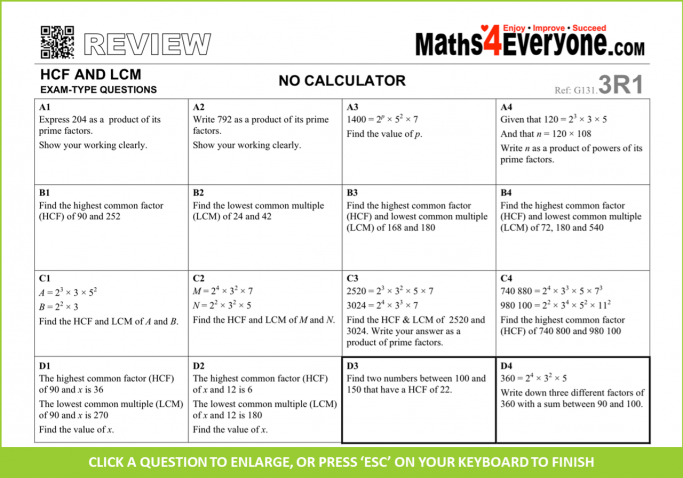 18 of the Best Free LCM and HCF Resources for KS3/4 Maths