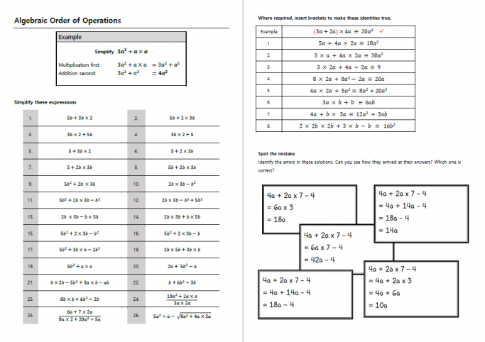 Algebraic order of operations worksheet with answers to help ks4 algebraic order of operations worksheet with answers to help ks4 students understand indices ibookread Download
