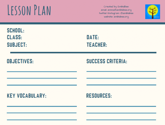 blank lesson plan template pdf version and editable