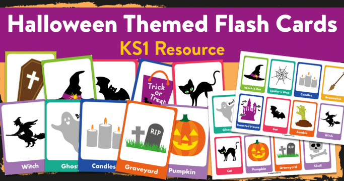 Printable Halloween Flashcards with Words and Pictures for Reception and KS1