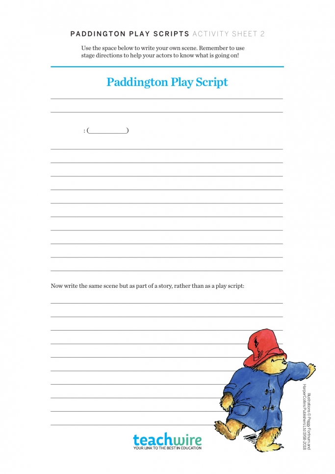 Ks2 English Paddington Play Script Worksheets Teachwire Teaching