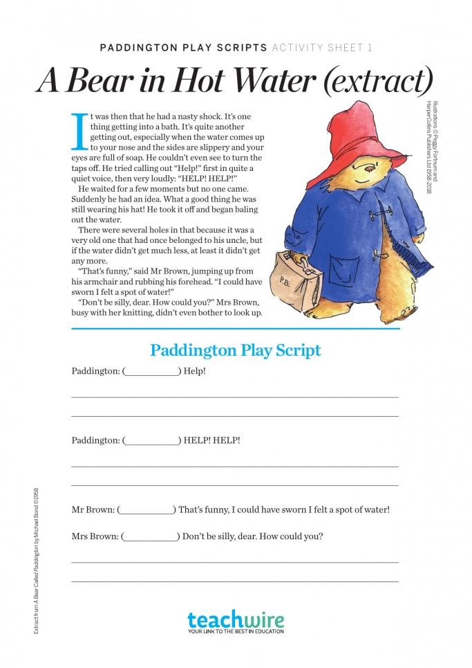 ks2 english paddington play script worksheets teachwire teaching resource. Black Bedroom Furniture Sets. Home Design Ideas