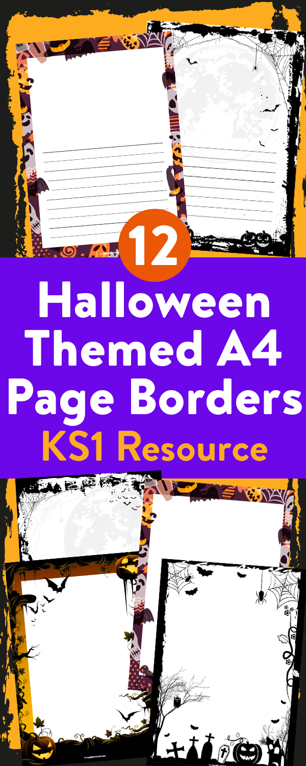 Printable Halloween Page Borders for Writing and Drawing – Lined and Blank Versions